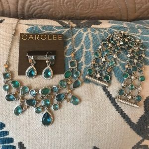 🆕 Carolee Aquamarine&Crystal Cubic Zirconia💎 Set